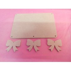 4mm Thick MDF Plaque  rounded corners With Bows   180mm wide